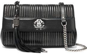 Roberto Cavalli Bead-embellished Quilted Leather Shoulder Bag