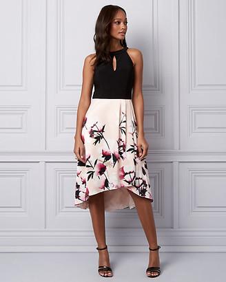 Le Château Floral Print Knit & Satin Cocktail Dress