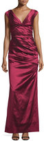 Aidan Mattox Cap-Sleeve V-Neck Pleated Gown, Ruby