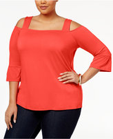 INC International Concepts Plus Size Square-Neck Cold-Shoulder Top, Only at Macy's