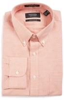 Nordstrom Men's Traditional Fit Houndstooth Linen & Cotton Dress Shirt