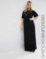 Asos Maxi Dress with Lace Inserts & Flutter Sleeve
