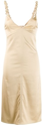 Bottega Veneta satin knot fitted dress