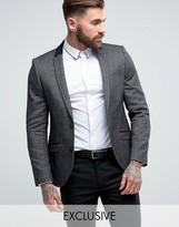 Heart & Dagger Skinny Blazer In Tweed With Velvet Trim