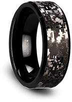Thorsten Rings SMOKESCREEN Black Tungsten Carbide Wedding Ring with Engraved Digital Camouflage - 8mm