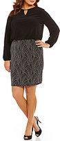 Marina Plus Long-Sleeve Keyhole Glitter Knit Blouson Dress