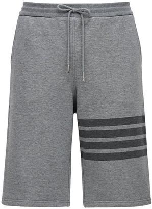 Thom Browne Tonal 4 Bar Cotton Sweat Shorts