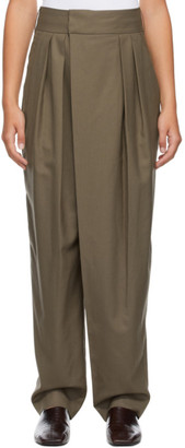 Low Classic Khaki Classic Wide Tuck Trousers