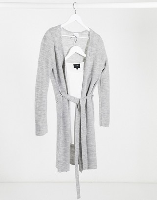 Vila cardigan with waist tie in grey