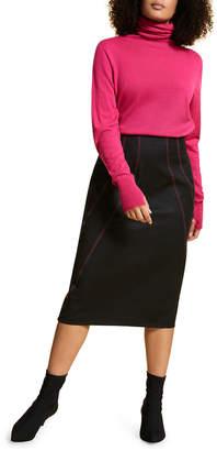 Marina Rinaldi Plus Size Wool Flannel Pencil Skirt w/ Contrast Stitching