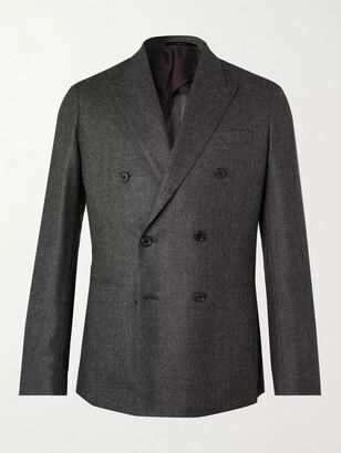 Paul Smith Double-Breasted Birdseye Melange Wool Blazer