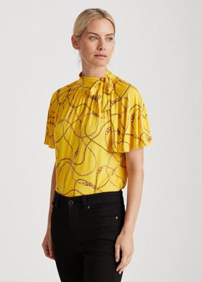 Ralph Lauren Print Jersey Tie-Neck Top