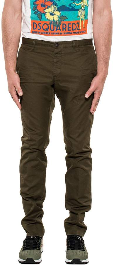 DSQUARED2 Army Green Gabardine Trousers