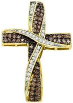 DazzlingRock Collection 0.57 Carat (ctw) 10k Yellow Gold Round & White Diamond Ladies Cross Pendant