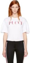 Emilio Pucci White & Pink Glitter Logo T-Shirt