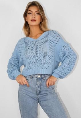Missguided Blue Crochet Jumper