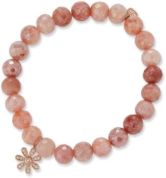 Sydney Evan 14k Diamond Daisy & Moonstone Bracelet