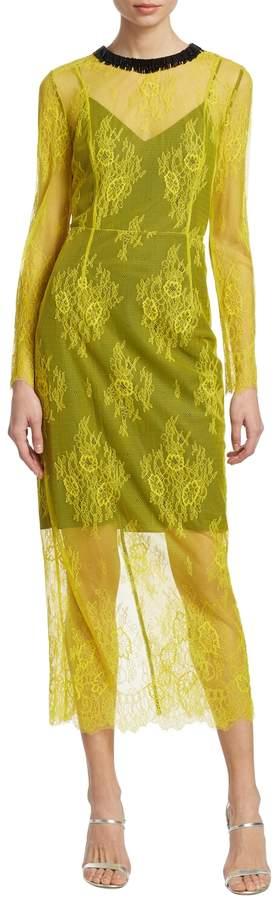 Diane von Furstenberg Women's Long-Sleeve Lace Midi Dress