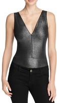 Aqua Metallic Strappy Back Bodysuit