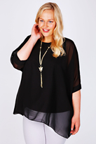 Yours Clothing Black Batwing Sleeve Chiffon Top With Necklace