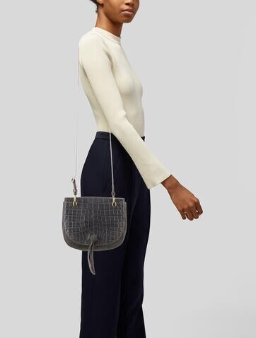 Thumbnail for your product : Elizabeth and James Leather Trimmed Crossbody Bag Grey