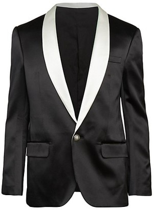 Balmain Contrast-Lapel Silk Satin Jacket