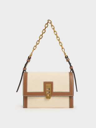 Charles & Keith Canvas Turn-Lock Chain Handle Bag