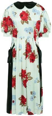 Simone Rocha Bow-detailed Floral-print Silk-satin Midi Dress