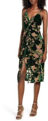 J.o.a. Floral Twist Front Velvet Slipdress