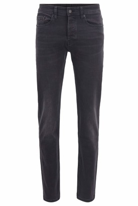 HUGO BOSS Mens Taber BC-P Tapered-fit Jeans in Washed Black Super-Stretch Denim