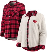 Unbranded Women's Red/Cream Wisconsin Badgers Reversible Sherpa Flannel Long Sleeve Button-Up Shirt