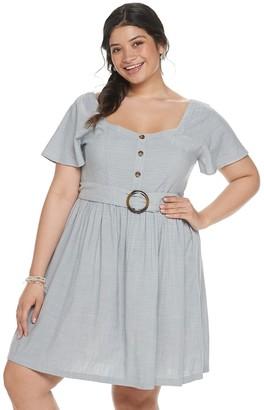 So Juniors' Plus Size Circle Buckle Short Sleeve Dress