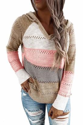 Byoauo V Neck Knitted Jumper Women Stripe Sweater Stretch Knitwear