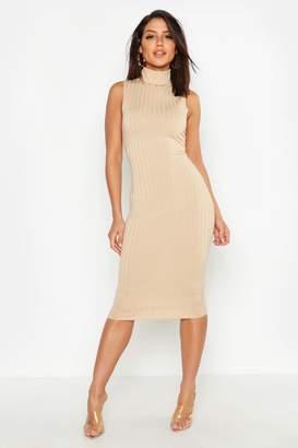 boohoo Ribbed High Neck Sleeveless Midi Dress