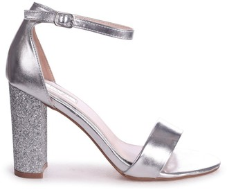 Linzi KORI - Silver Barely There With Glitter Block Heel
