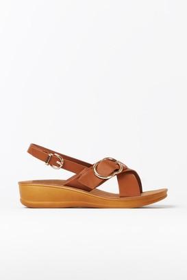 Wallis Tan Buckle Strap Sandal