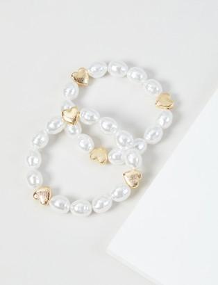 Lane Bryant 2-Row Pearlescent Heart Stretch Bracelet Set