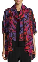 Caroline Rose Samba Printed Half-Sleeve Cardigan, Black/Multi, Plus Size