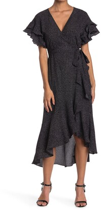 Max Studio Ruffle Crepe High/Low Wrap Midi Dress