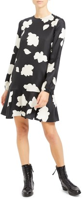 Theory Nophella Drop Waist Silk Midi Dress