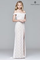 Faviana s8012 Off-the-shoulder lace dress with lace-up back
