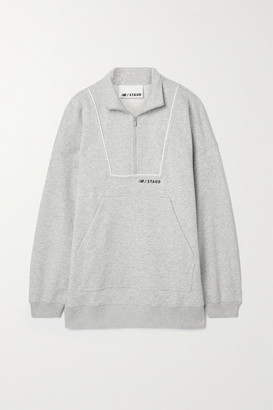 STAUD + New Balance Paneled Cotton-blend Jersey Sweatshirt - Gray