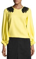 Creatures of the Wind Lace-Trim Full-Sleeve Blouse, Yellow/Black