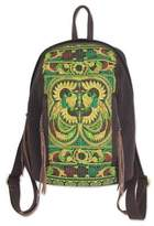 Artisan Crafted Embroidered Cotton Backpack from Thailand, 'Phoenix Journey'