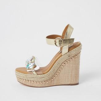 River Island Beige embellished perspex wedge sandals