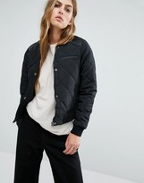 Noisy May Quilted Bomber with PU Detail