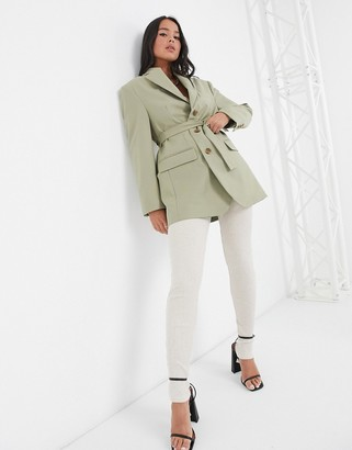 ASOS DESIGN strong shoulder sculpted waist belted blazer in sage
