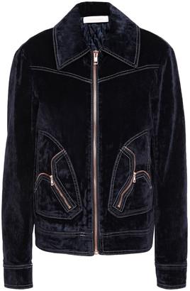 See by Chloe Zip-detailed Cotton-blend Crushed-velvet Jacket