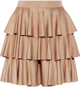 Balmain Tiered Ruffled Satin-Bandage Shorts