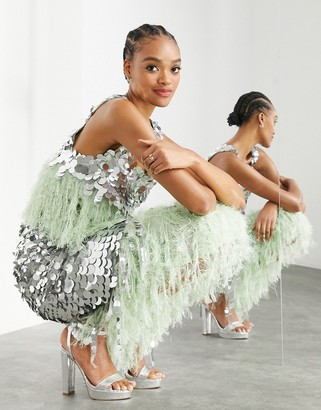 ASOS EDITION paillette sequin crop top with feather hem in silver and green